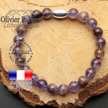 bracelet en pierre naturelle et son appret olive en argent 925 sa pierre est de la cacoxenite