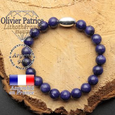 bracelet en pierre naturelle et son appret olive en argent 925 sa pierre est de la charoite