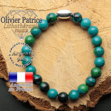 bracelet en pierre naturelle et son appret olive en argent 925 sa pierre est de la chrysocolle