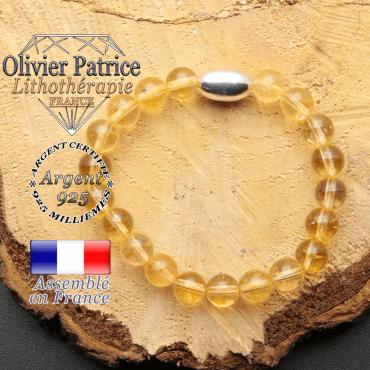 bracelet en pierre naturelle et son appret olive en argent 925 sa pierre est de la citrine