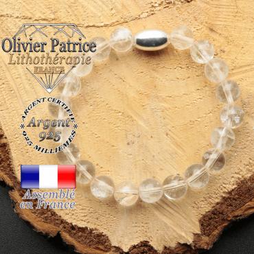bracelet en pierre naturelle et son appret olive en argent 925 sa pierre est du cristale de roche