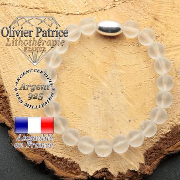 bracelet en pierre naturelle et son appret olive en argent 925 sa pierre est du cristal de roche opaque