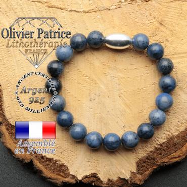 bracelet en pierre naturelle et son appret olive en argent 925 sa pierre est de la dumortierite