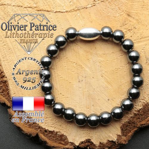 bracelet en pierre naturelle et son appret olive en argent 925 sa pierre est de l'hematite