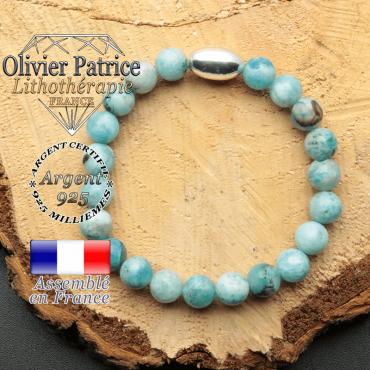 bracelet en pierre naturelle et son appret olive en argent 925 sa pierre est de l'hemimorphite