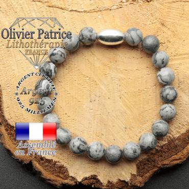 bracelet en pierre naturelle et son appret olive en argent 925 sa pierre est du jaspe gris crazy lace
