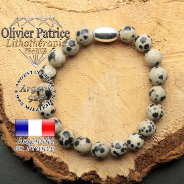 bracelet en pierre naturelle et son appret olive en argent 925 sa pierre est du jaspe dalmatien