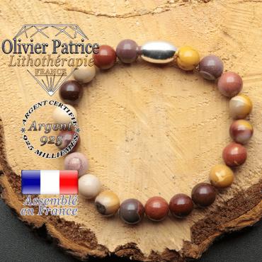 bracelet en pierre naturelle et son appret olive en argent 925 sa pierre est du jaspe mokaite