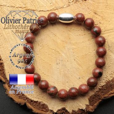 bracelet en pierre naturelle et son appret olive en argent 925 sa pierre est du jaspe rouge