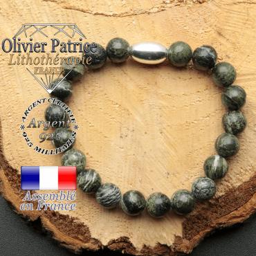 bracelet en pierre naturelle et son appret olive en argent 925 sa pierre est du jaspe vert zebre