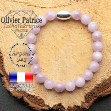bracelet en pierre naturelle et son appret olive en argent 925 sa pierre est de la kunzite
