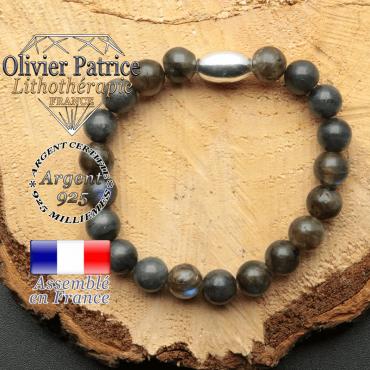 bracelet en pierre naturelle et son appret olive en argent 925 sa pierre est de la labradorite