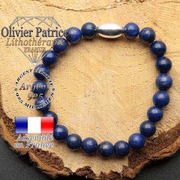 bracelet en pierre naturelle et son appret olive en argent 925 sa pierre est du lapis lazuli