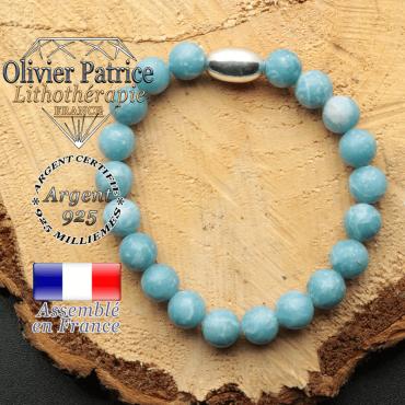 bracelet en pierre naturelle et son appret olive en argent 925 sa pierre est du larimar