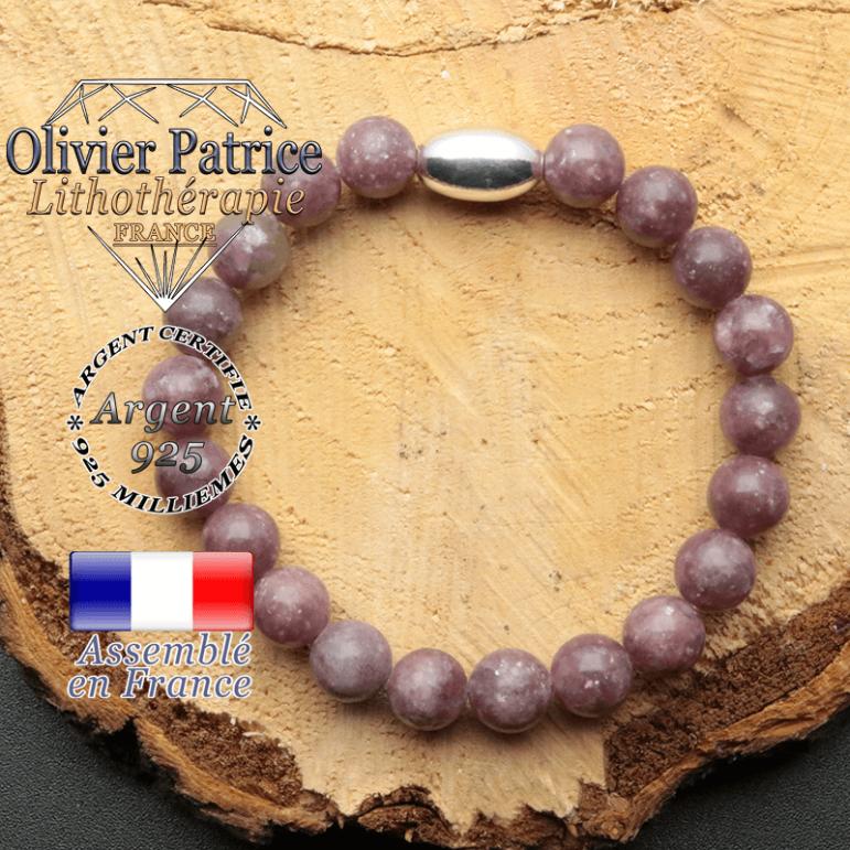 bracelet en pierre naturelle et son appret olive en argent 925 sa pierre est de la lepidolite