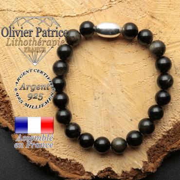 bracelet en pierre naturelle et son appret olive en argent 925 sa pierre est de l'obsidienne dore