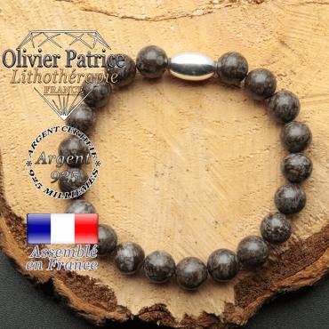 bracelet en pierre naturelle et son appret olive en argent 925 sa pierre est de l'obsidienne neige brune