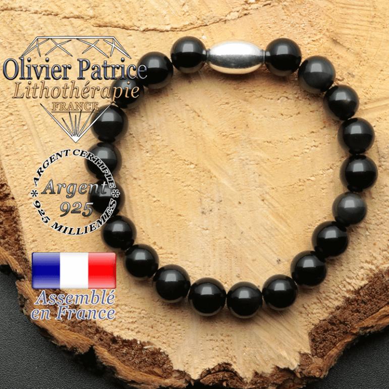 bracelet en pierre naturelle et son appret olive en argent 925 sa pierre est de l'obsidienne oeil celeste