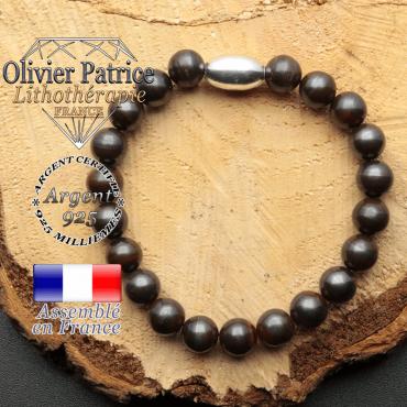 bracelet en pierre naturelle et son appret olive en argent 925 sa pierre est de l'oeil de fer