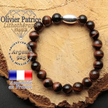 bracelet en pierre naturelle et son appret olive en argent 925 sa pierre est de l'oeil de taureau