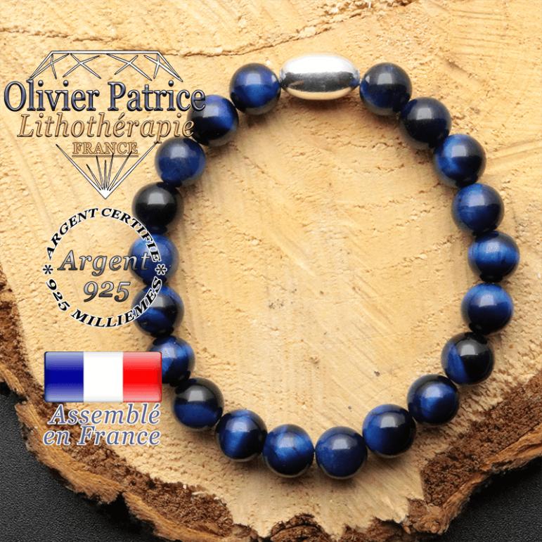 bracelet en pierre naturelle et son appret olive en argent 925 sa pierre est de l'oeil de tigre bleue teinte