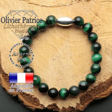 bracelet en pierre naturelle et son appret olive en argent 925 sa pierre est de l'oeil de tigre verte teinte