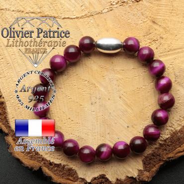 bracelet en pierre naturelle et son appret olive en argent 925 sa pierre est del'oeil de tigre violette teinte