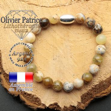 bracelet en pierre naturelle et son appret olive en argent 925 sa pierre est de l'opale peruvienne