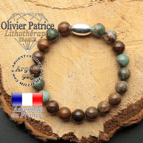 bracelet en pierre naturelle et son appret olive en argent 925 sa pierre est de l'opale verte africaine