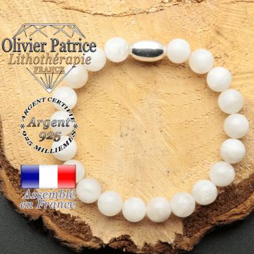 bracelet en pierre naturelle et son appret olive en argent 925 sa pierre est de la pierre de lune
