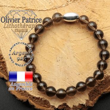 bracelet en pierre naturelle et son appret olive en argent 925 sa pierre est du quartz fume
