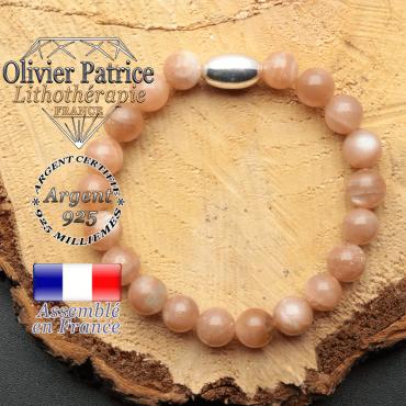 bracelet en pierre naturelle et son appret olive en argent 925 sa pierre est de la pierre du soleil