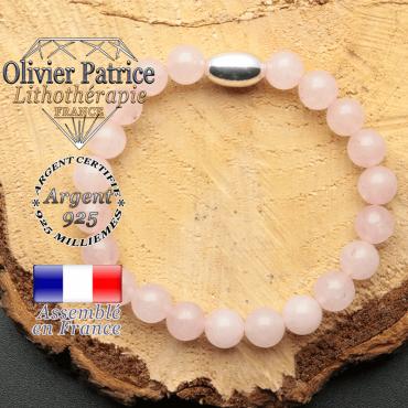 bracelet en pierre naturelle et son appret olive en argent 925 sa pierre est du quartz rose