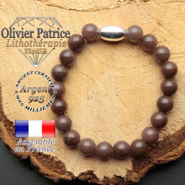 bracelet en pierre naturelle et son appret olive en argent 925 sa pierre est du quartz vin