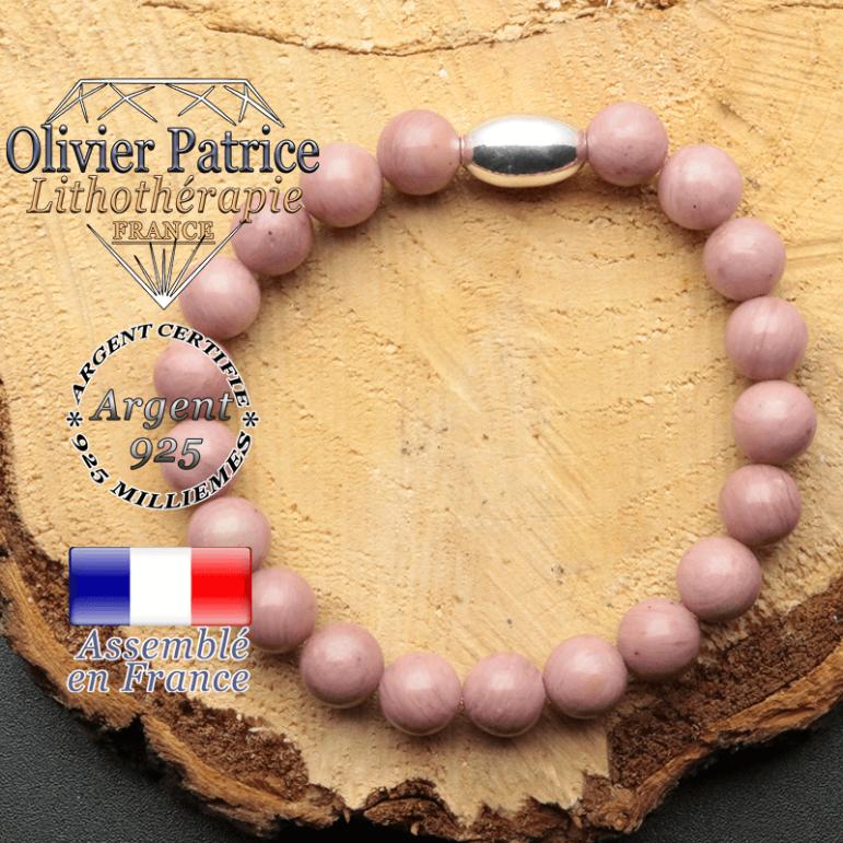 bracelet en pierre naturelle et son appret olive en argent 925 sa pierre est de la rhodochrosite