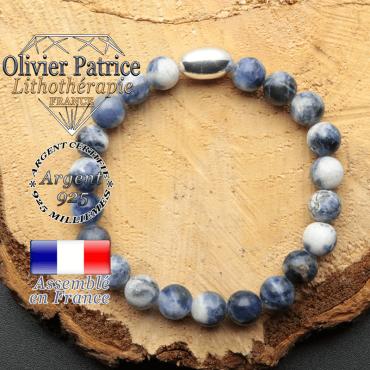 bracelet en pierre naturelle et son appret olive en argent 925 sa pierre est de la sodalite