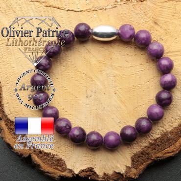 bracelet en pierre naturelle et son appret olive en argent 925 sa pierre est de la sugilite