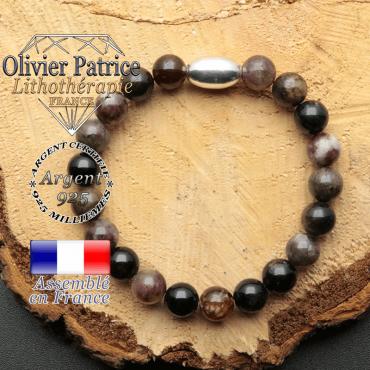 bracelet en pierre naturelle et son appret olive en argent 925 sa pierre est de la tourmaline elbaite