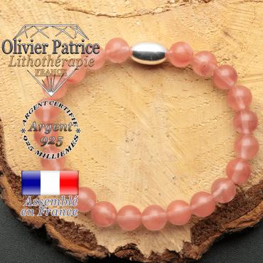 bracelet en pierre naturelle et son appret olive en argent 925 sa pierre est de la tourmaline pasteque