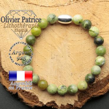bracelet en pierre naturelle et son appret olive en argent 925 sa pierre est de la turquoise africaine