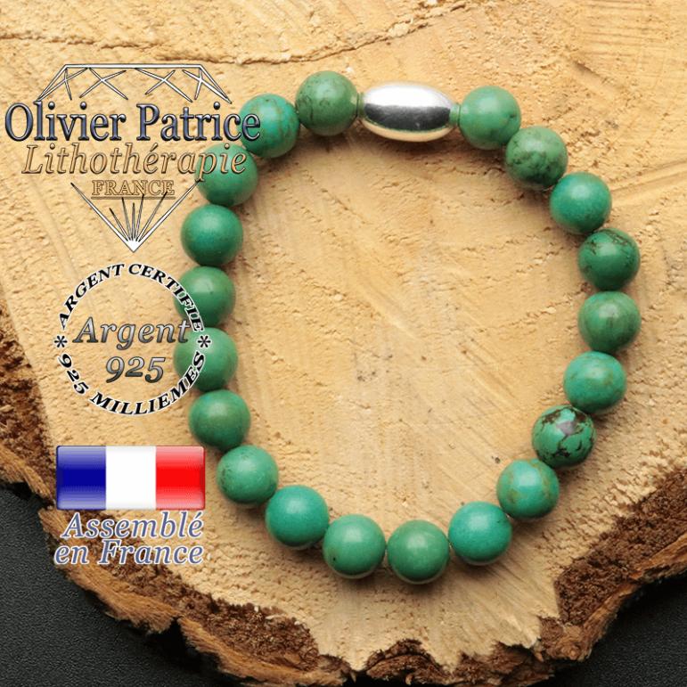 bracelet en pierre naturelle et son appret olive en argent 925 sa pierre est de la turquoise du tibet