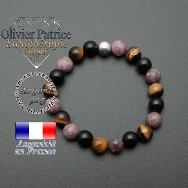 bracelet boule lisse de 8mm en argent 925 en protection femme obsidienne oeil de tigre lepidolite