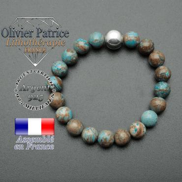 bracelet boule lisse de 10mm en argent 925 en agate bleue crazy lace