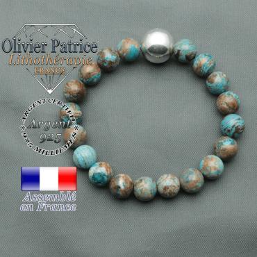 bracelet boule lisse de 12mm en argent 925 en agate bleue crazy lace