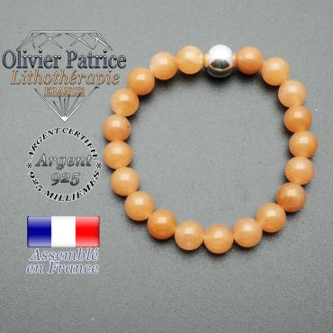 bracelet boule lisse de 10mm en argent 925 en aventurine orange
