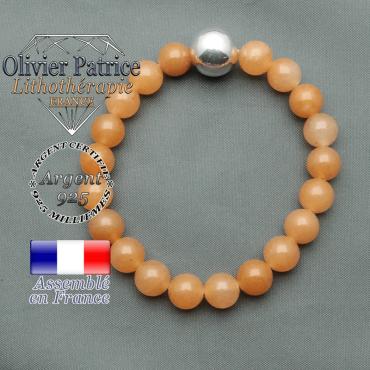 bracelet boule lisse de 12mm en argent 925 en aventurine orange