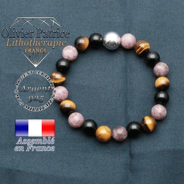 bracelet boule lisse de 10mm en argent 925 en protection femme obsidienne oeil de tigre lepidolite