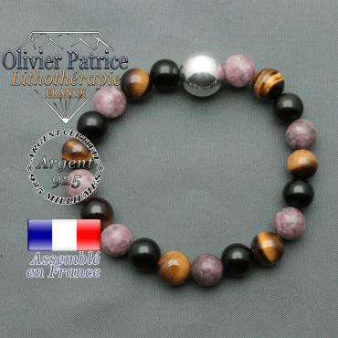 bracelet boule lisse de 12mm en argent 925 en protection femme obsidienne oeil de tigre et lepidolite