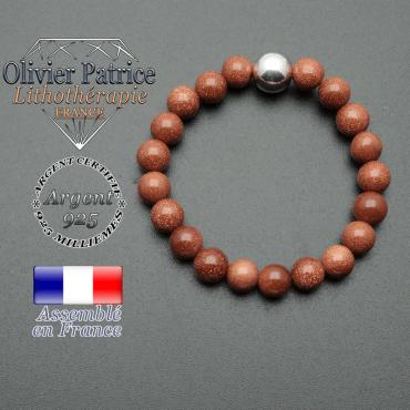 bracelet boule lisse de 10mm en argent 925 en goldstone
