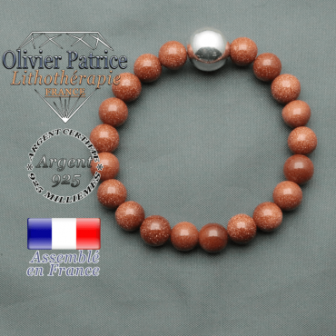 bracelet boule lisse de 12mm en argent 925 en goldstone